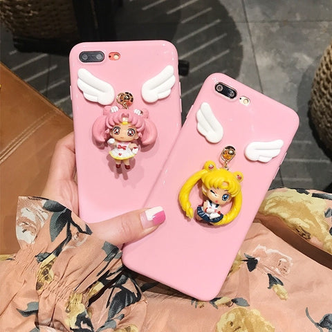 For iPhone 7 7 Plus 6 6sPlus Rubber Shockproof Sailor Moon Dream Lying Soft Case