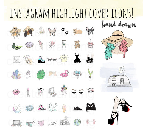 74 Hand Drawn Instagram Highlight Icons - Blogger Collection