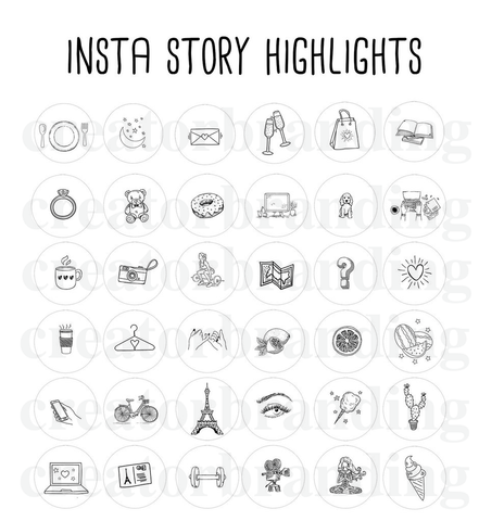 instagram highlight cover icons collection black and white hand drawn design