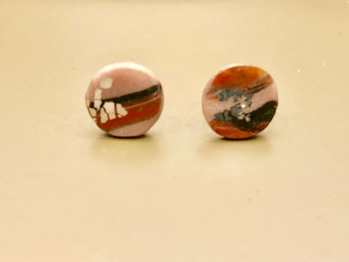 Contemporary handmade pink/red/black/silver polymer clay sterling silver studs