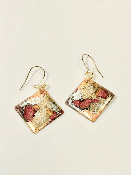 Handmade small abstract diamond shape multicolors enamel gold filled earrings