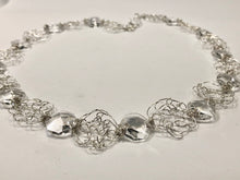Load image into Gallery viewer, Handmade sterling silver wire crochet necklace with crystal hexagonal prisms