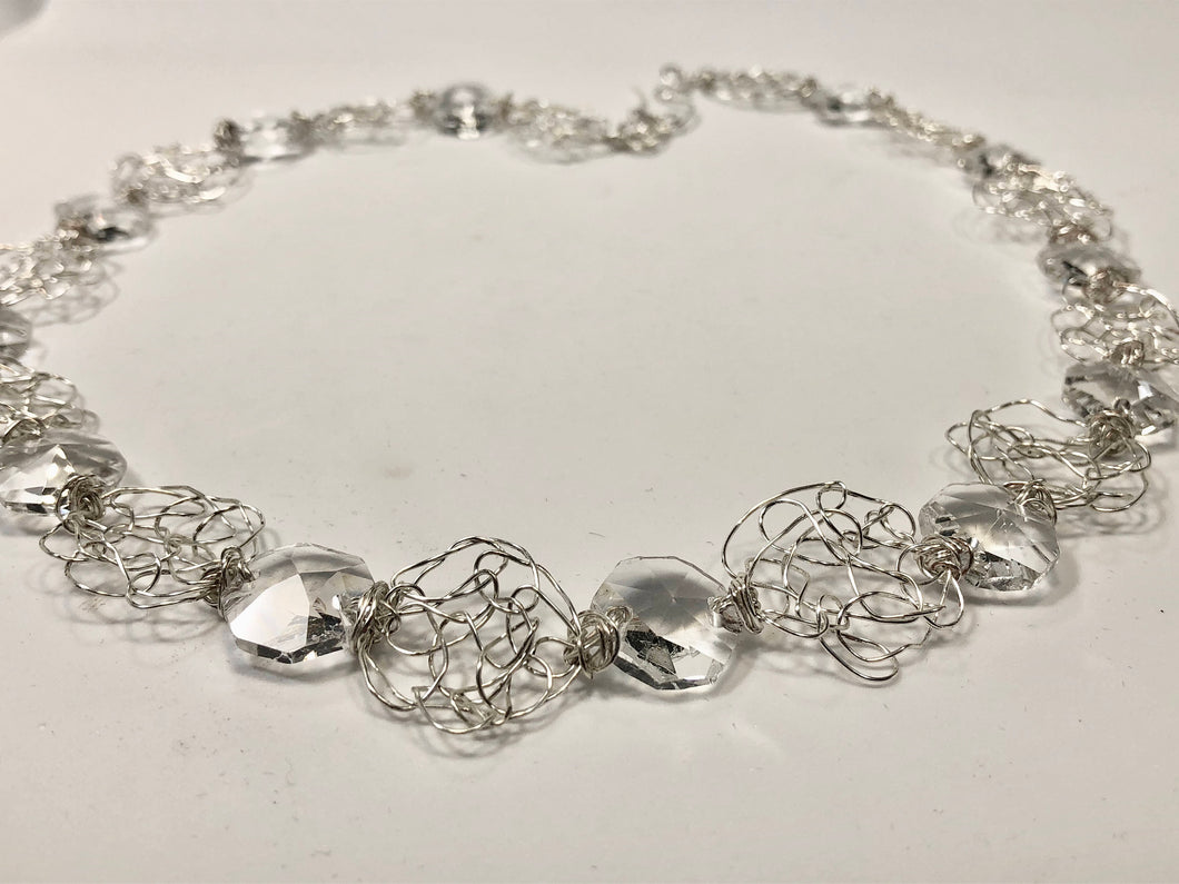 Handmade sterling silver wire crochet necklace with crystal hexagonal prisms