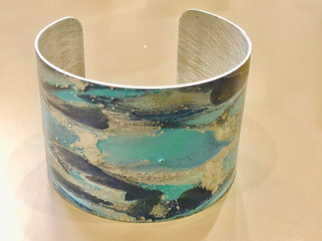 Enamel painted aluminum cuff abstract multicolors open bracelet