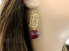 Load image into Gallery viewer, Handcrafted red ruby-like gold filled wire crochet earrings