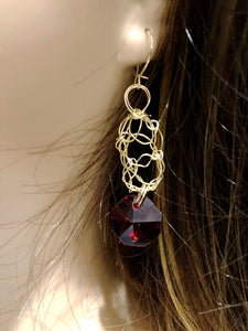 Handcrafted red ruby-like gold filled wire crochet earrings