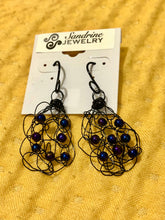 Load image into Gallery viewer, Handmade black wire crochet earrings with peacock blue pearls