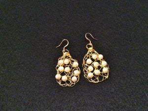Handmade wire crochet earrings with white pearls and gold color craft wire