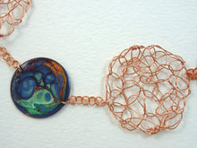 Load image into Gallery viewer, Handmade enamel and wire crochet abstract multi-colors necklace