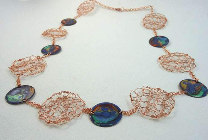 Handmade enamel and wire crochet abstract multi-colors necklace