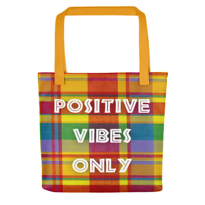 "Tote bag ""Positive Vibes Only - Madras"" - Rootz shop"