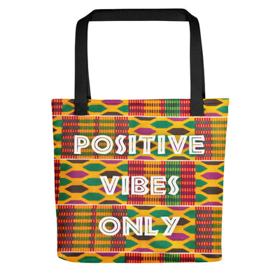 "Tote bag ""Positive Vibes Only - Kente"" - Rootz shop"