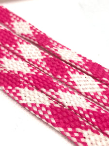 Pink and White Plaid Flat Shoelaces