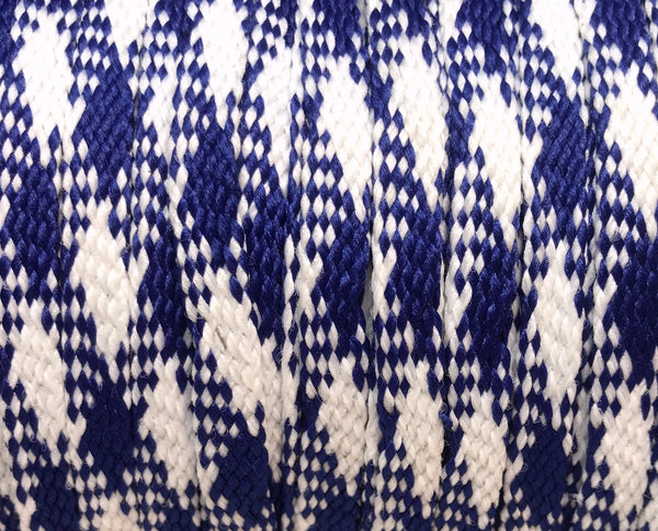 Royal Blue and White Plaid Flat Shoelaces