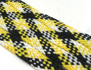 Yellow, Black and White Plaid Flat Shoelaces