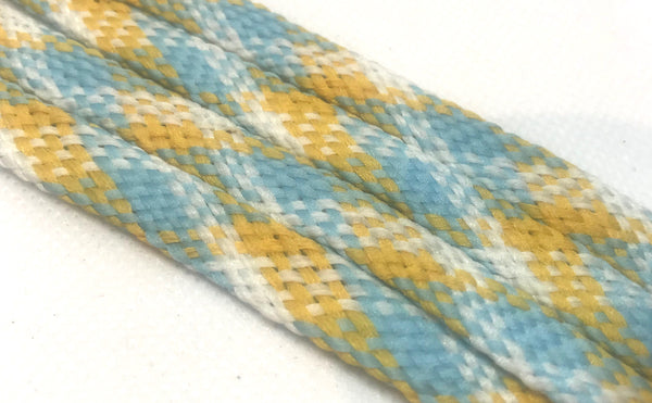 Light Blue, Peach and White Plaid Flat Shoelaces