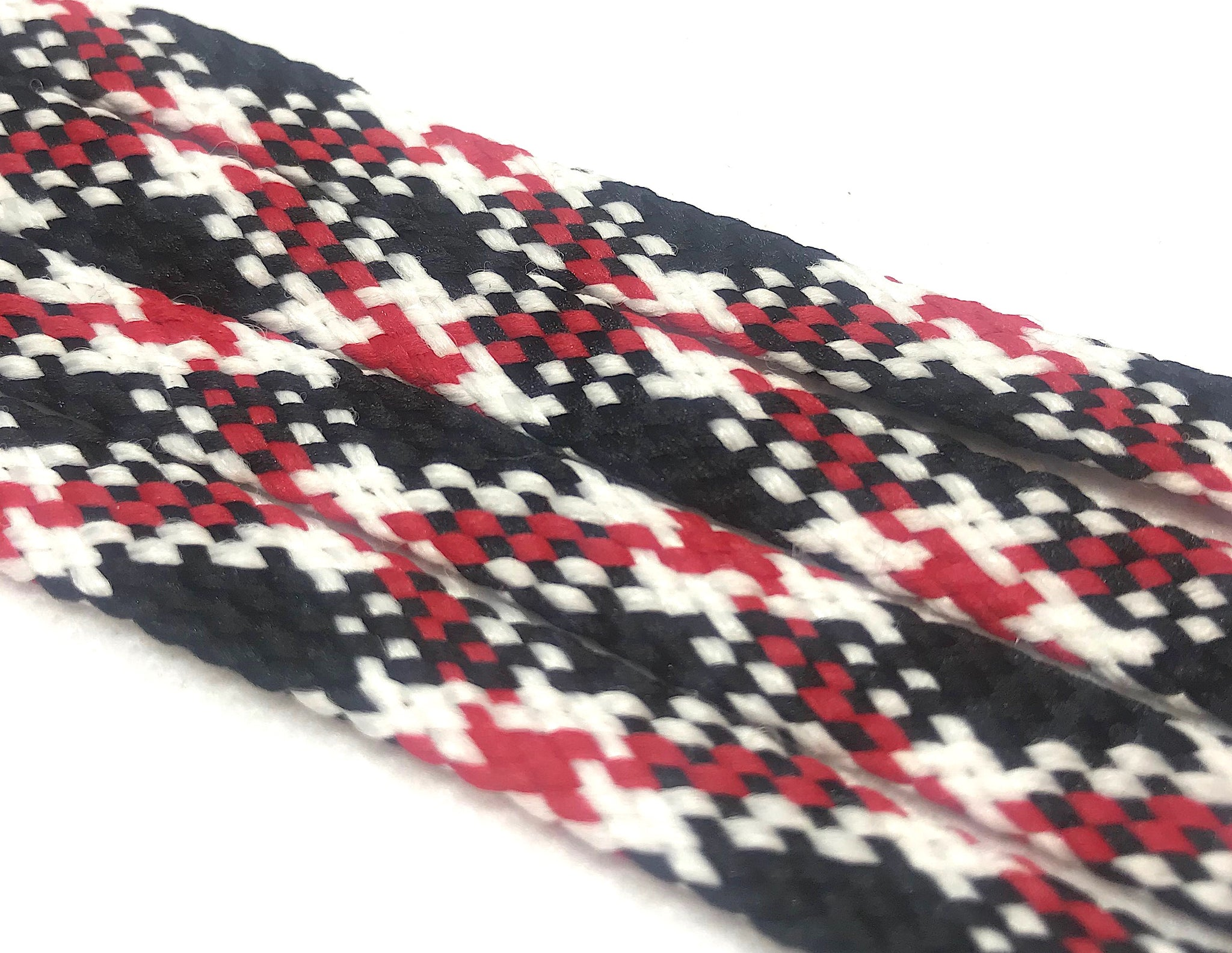Red, Black and White Plaid Flat Shoelaces