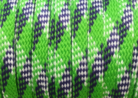 Green, Purple and White Plaid Flat Shoelaces