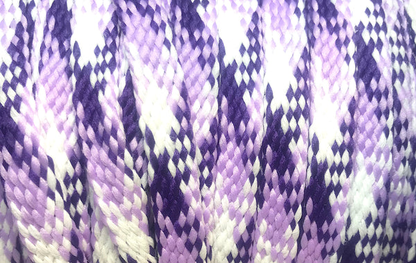 Purple and White Plaid Flat Shoelaces