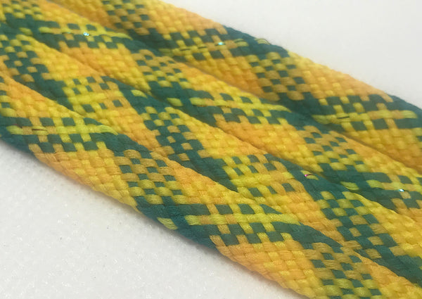Yellow, Green and Light Peach Plaid Flat Shoelaces