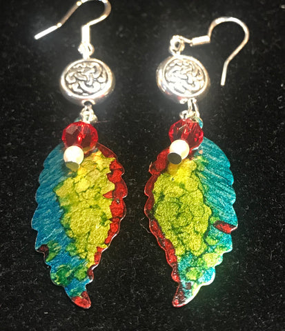 Hand Painted Teal, Yellow and Red Leaf Earrings