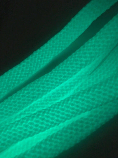 Neon Green and White Glow in the Dark Shoelaces