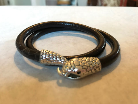 Chocolate  Brown Leather Wrap Bracelet with Snake Head Clasp