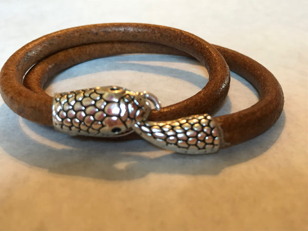 Light Brown Leather Wrap Bracelet with Snake Head Clasp