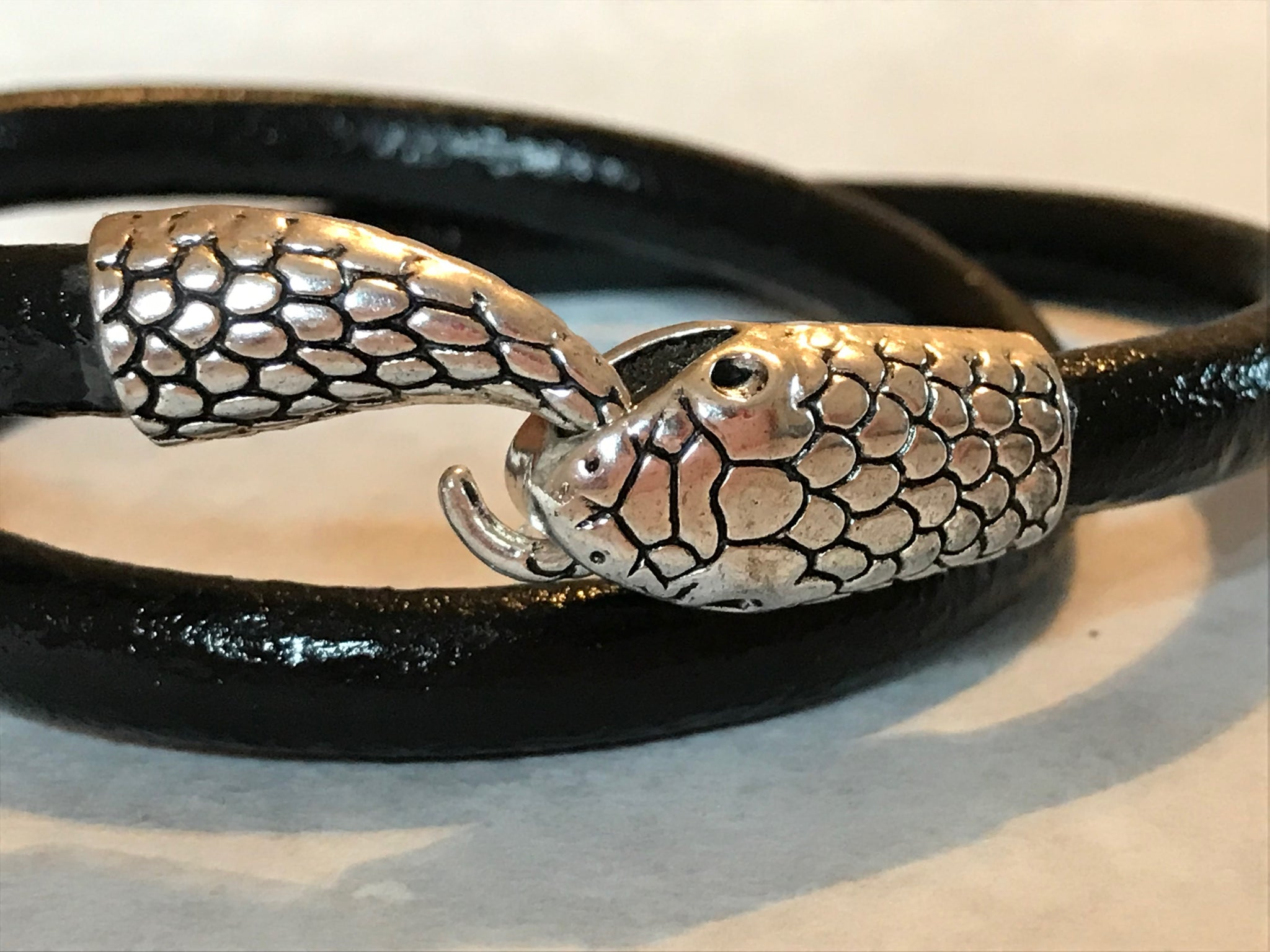 Black Leather Wrap Bracelet with Snake Head Clasp