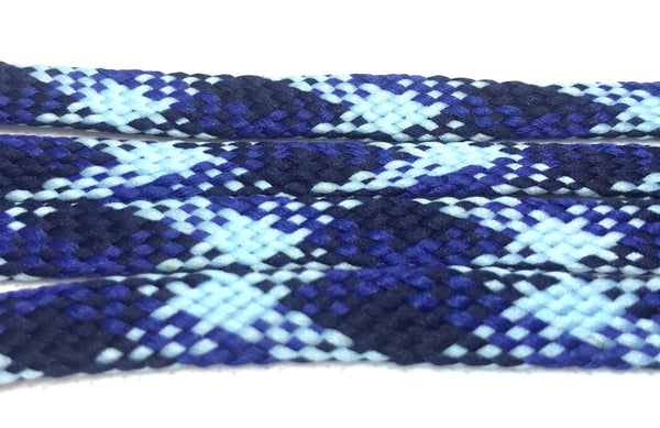 Navy and Light Blue Plaid Flat Shoelaces