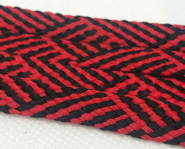 Red and Black Herringbone Flat Shoelaces