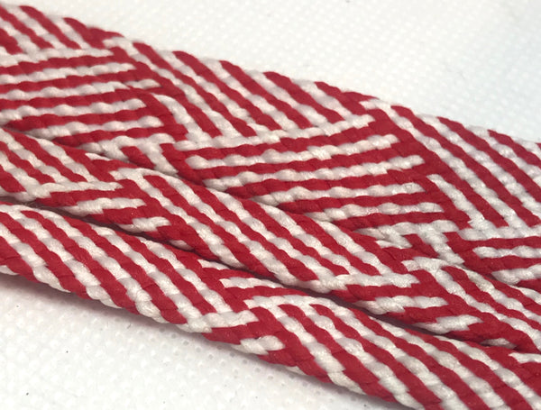 Red and White Herringbone Flat Shoelaces