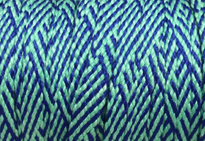 Teal and Blue Herringbone Flat Shoelaces