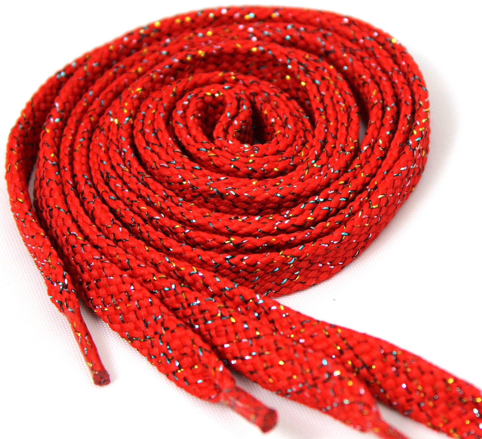 Red Sparkle Flat Shoelaces