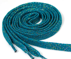 Teal Sparkle Flat Shoelaces