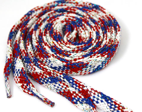 Red, White and Blue Sparkle Flat Shoelaces