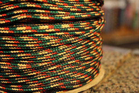 Yellow, Green, Red and Black Round Shoelaces
