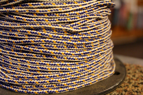 White, Yellow and Blue Round Shoelaces