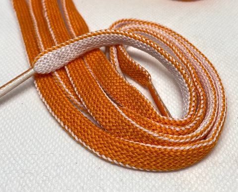 Two Sided Orange and White Shoelaces