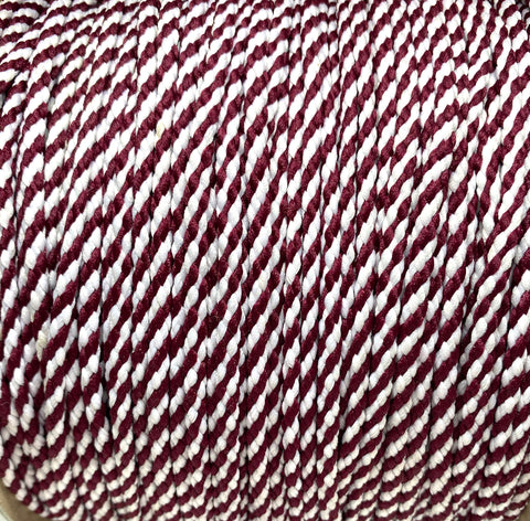 Maroon and White Round Shoelaces