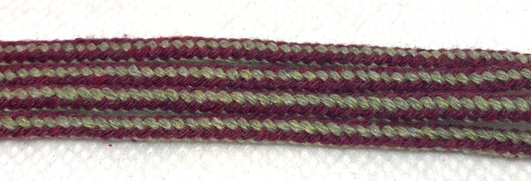Maroon and Tan Striped Dress Shoelaces