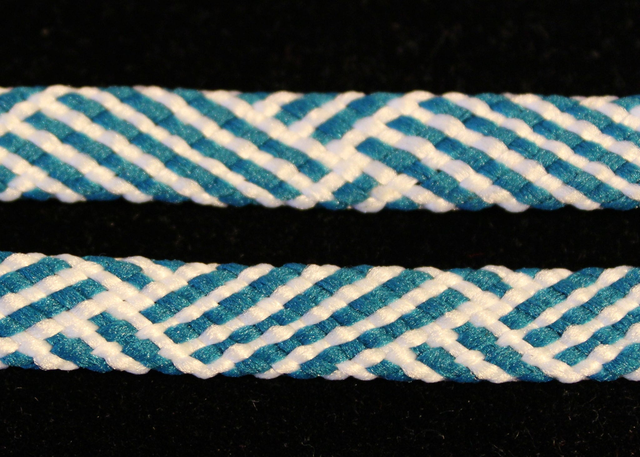 Teal and White Flat Laces