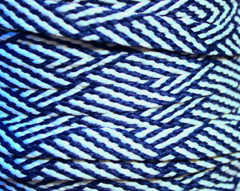 Navy Blue and Light Blue Herringbone Flat Shoelaces