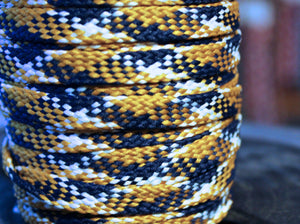 Gold, White and Blue Flat Shoelaces