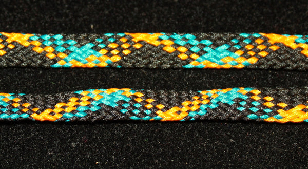 Orange, Black and Teal Flat Shoelaces