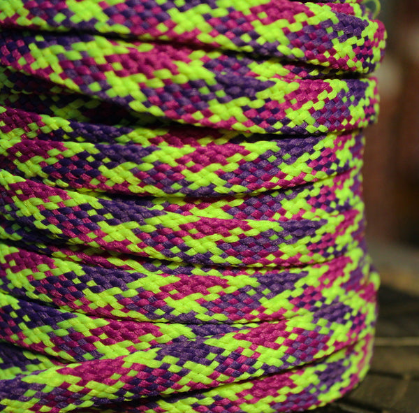 Green, Pink and Purple Flat Shoelaces