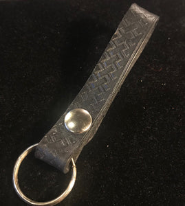 Black Leather Snap Key Ring