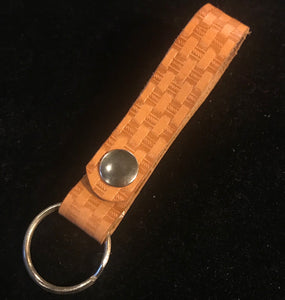 Brown Leather Snap Key Ring