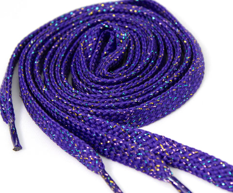 Dark Purple Sparkle Flat Shoelaces