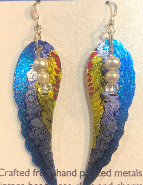 Hand Painted Blue,Yellow and Red Angle Wing Earrings